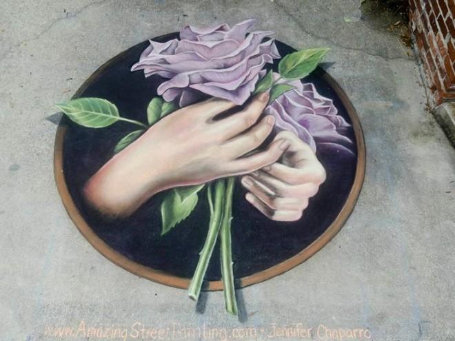 roses chalk art festival