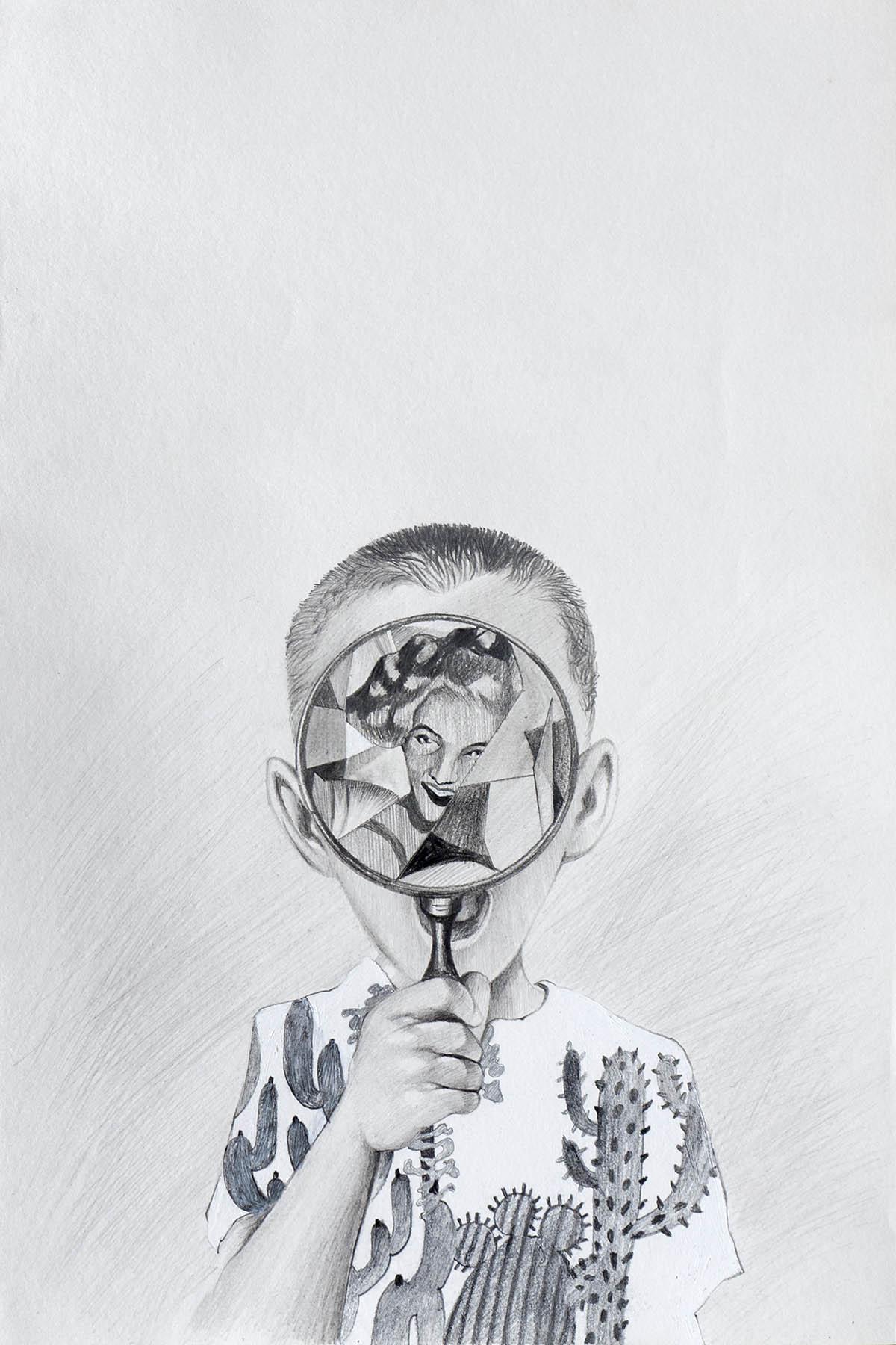 charcoal on paper drawing by kk raghava