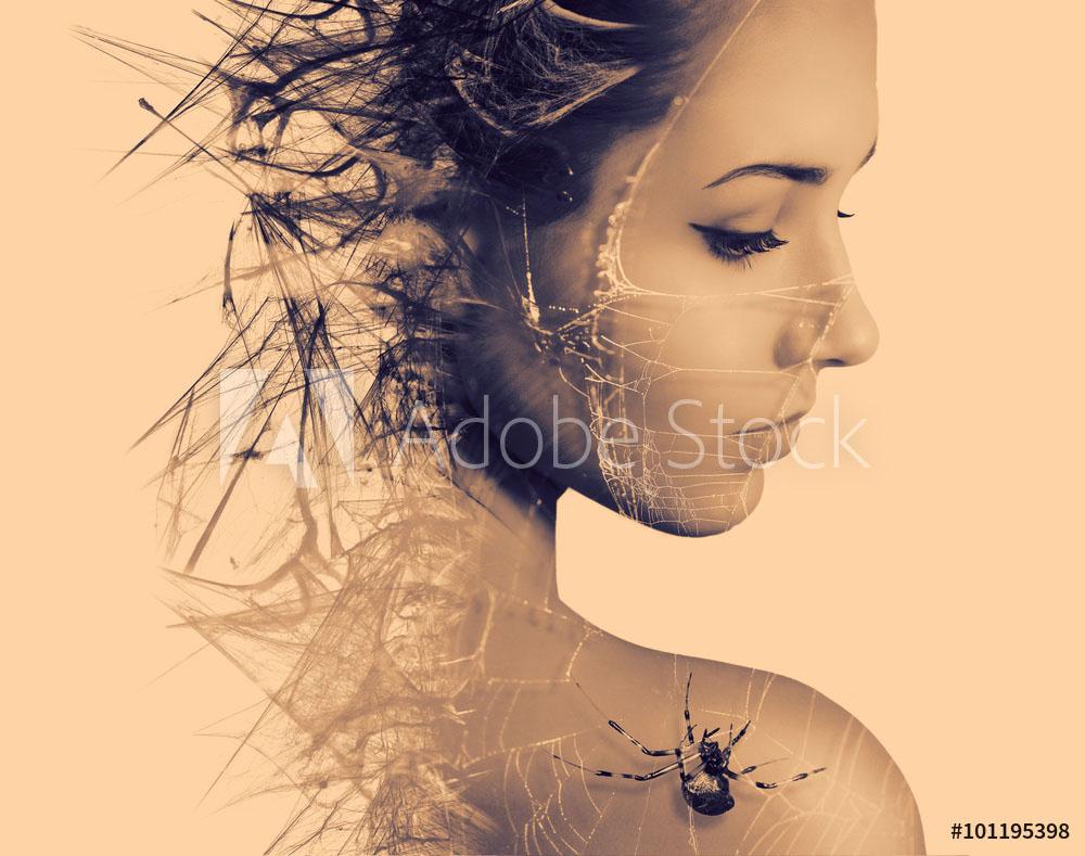 double exposure photography spiderweb