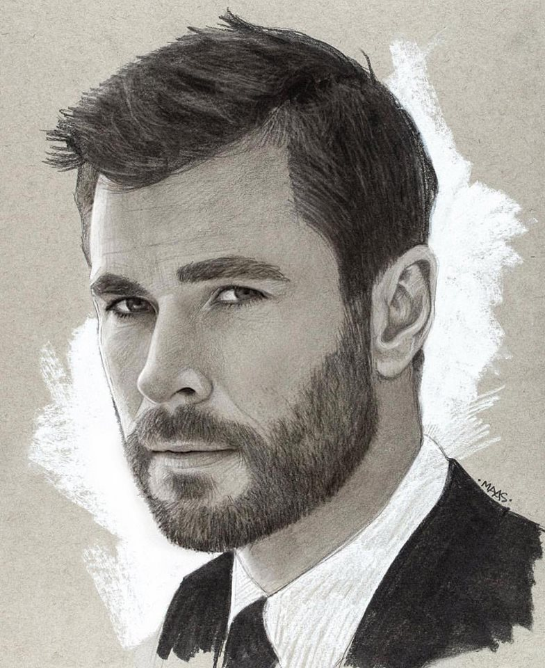 graphite drawing sketches chrishemsworth
