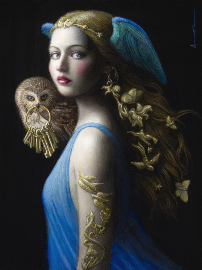 surreal art painting owl by chie yoshii