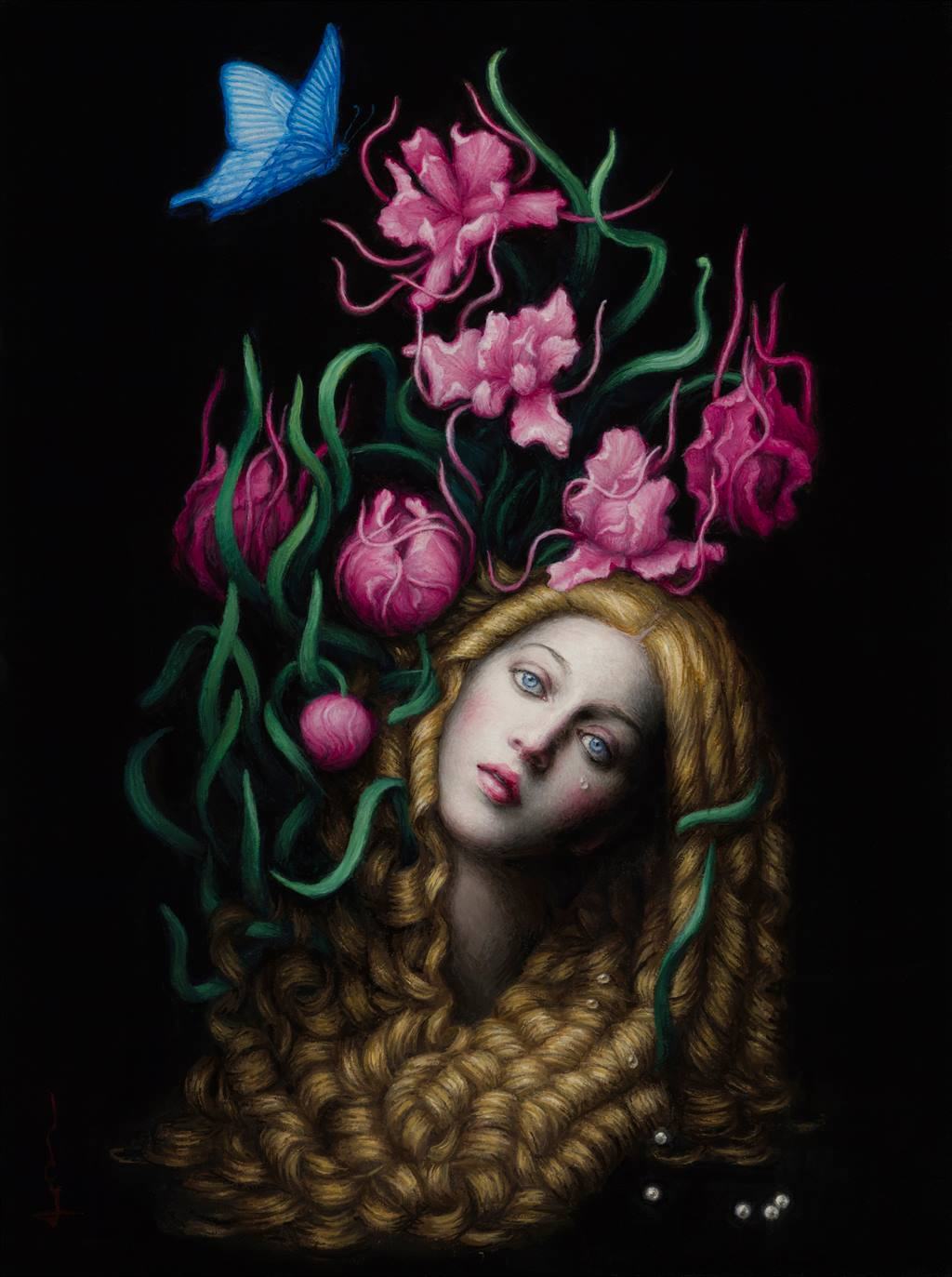 surreal art painting fire by chie yoshii