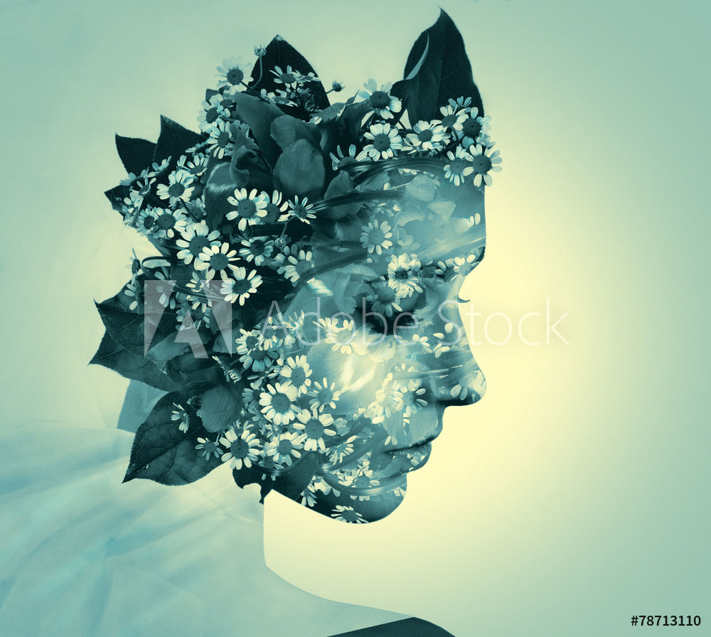 double exposure photography woman