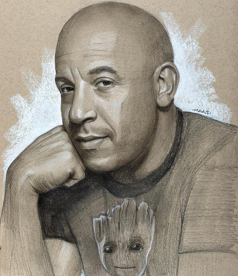 graphite drawing sketches vindiesel