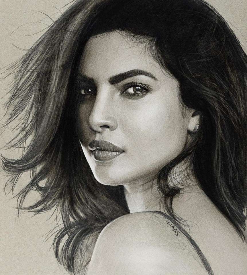 graphite drawing sketches priyankachopra