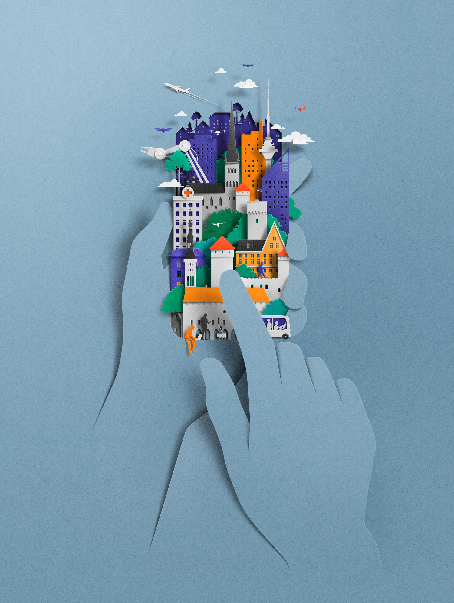 paper art sculpture mobile by eiko ojala