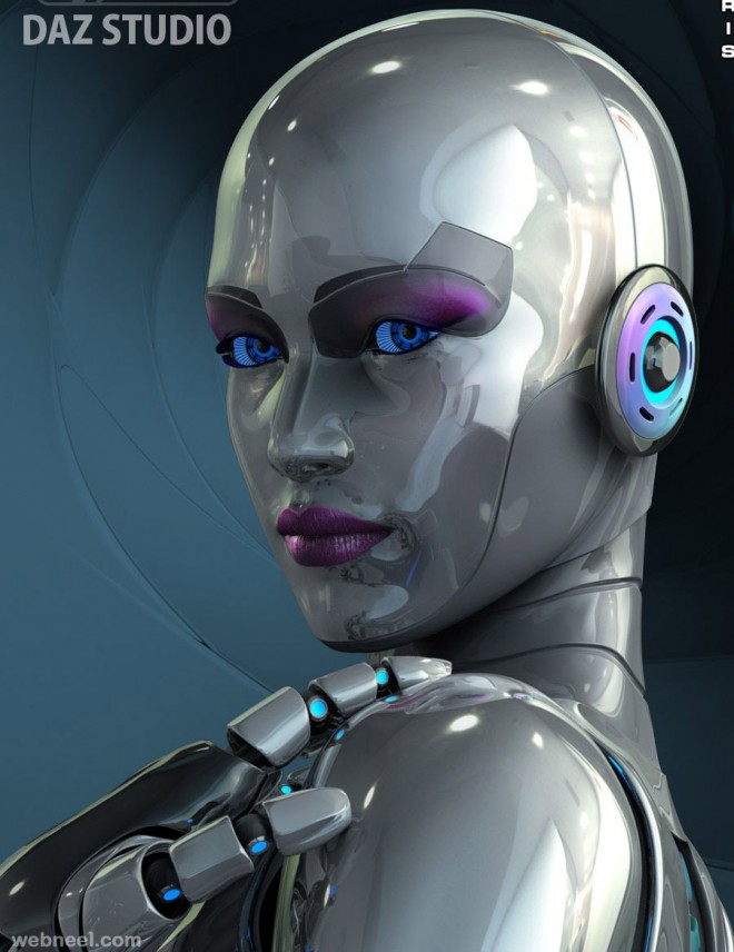 3d woman robot character design