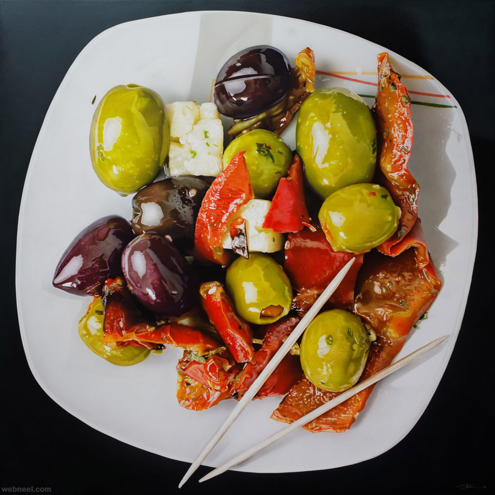 food hyper realistic painting by tom martin