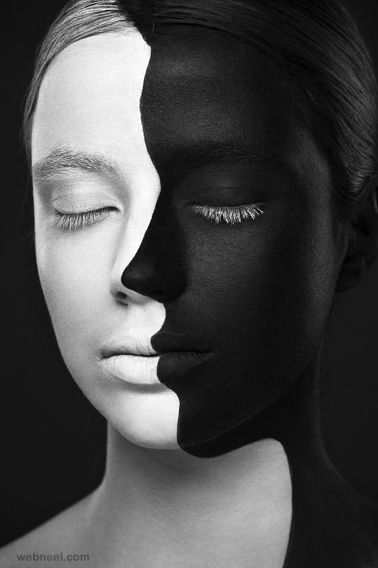 Body painting black and white photography