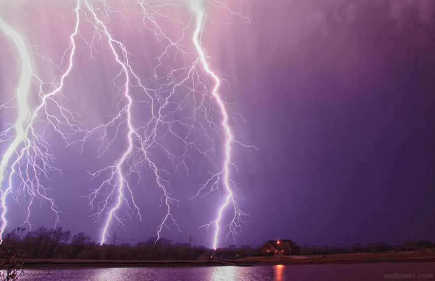 purple lighting thunder storm photography