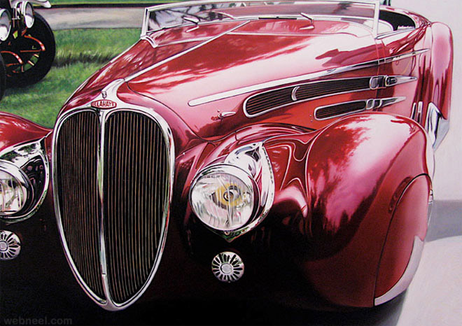 25 extraordinary hyper realistic car paintings by cheryl for Car painting school