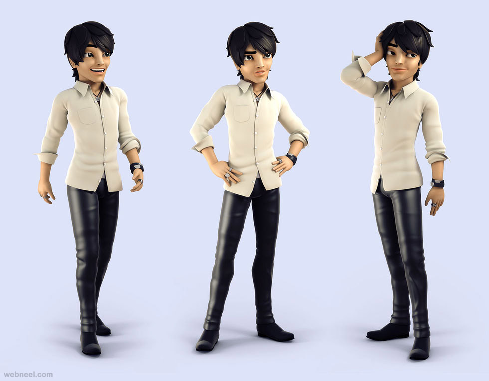 3d boy cartoon character by andrew