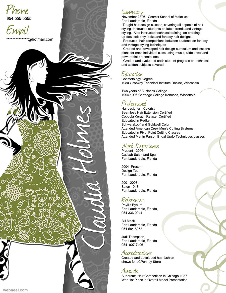 resume design - Fashion Designer Sample Resume