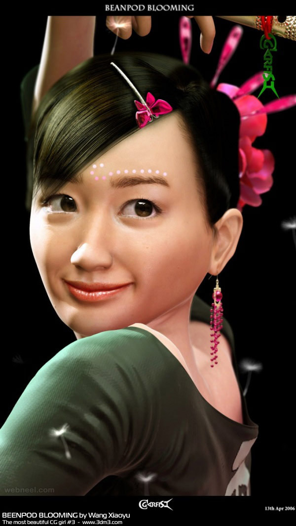 3d woman girl character