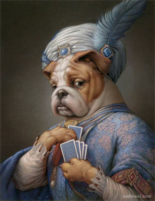 surreal painting dog by kurt wenner