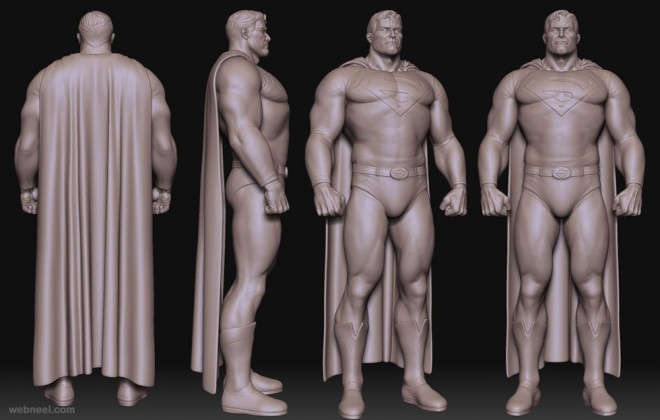 super man zbrush model by rodrigue pralier