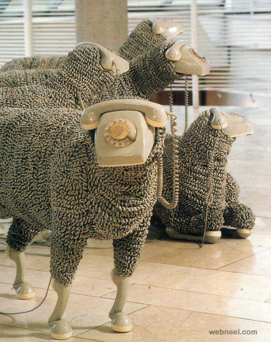 creative sculpture sheep telephone amazing product design phone
