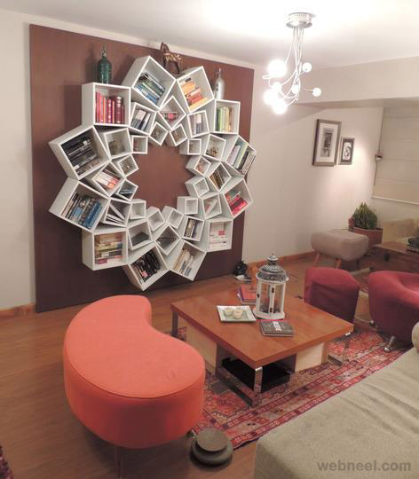 square and circle book shelf amazing product design
