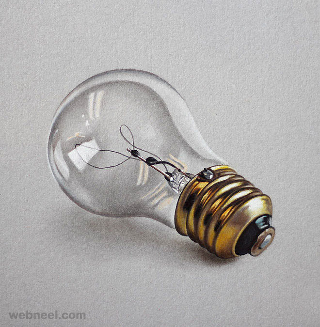 color pencil drawing bulb