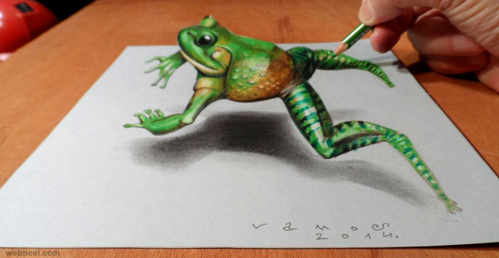 Frog 3d drawing 3d drawings 3d drawing 3d pencil drawings animals