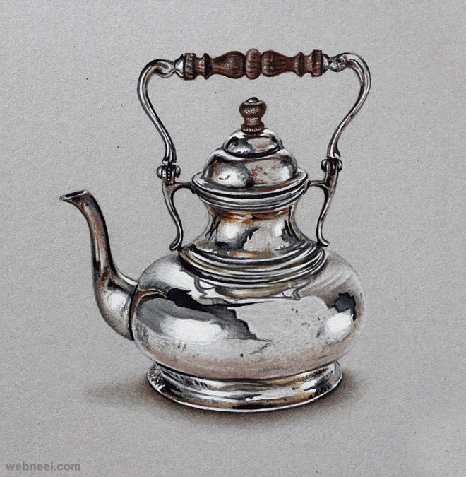 color pencil drawing teapot