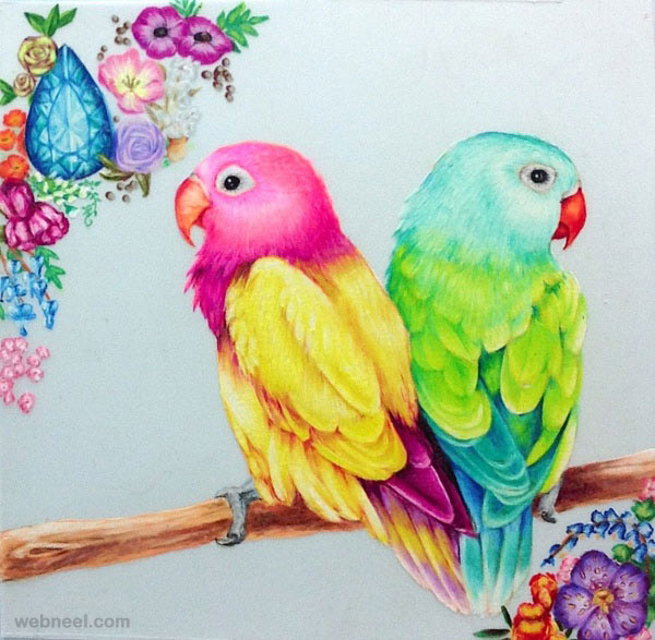Pretty Bird Drawing Birds Drawings