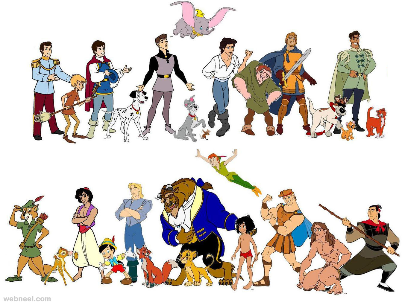 25 Disney Cartoon Characters on oscar statuette clip art