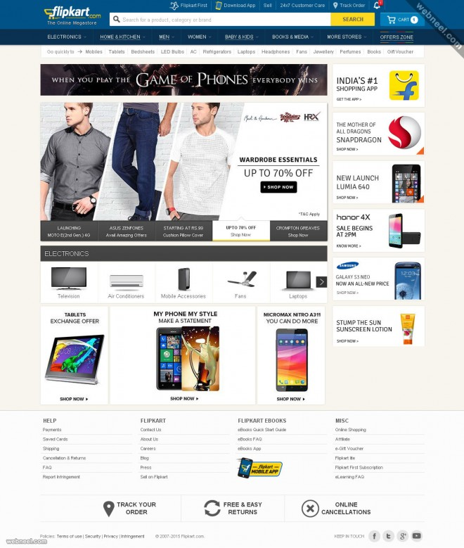 ecommerce website design flipkart