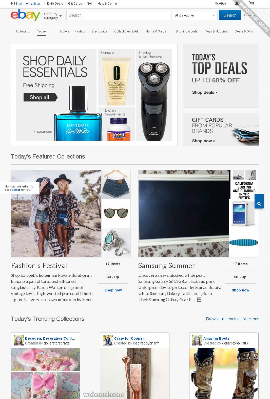 ecommerce website design ebay