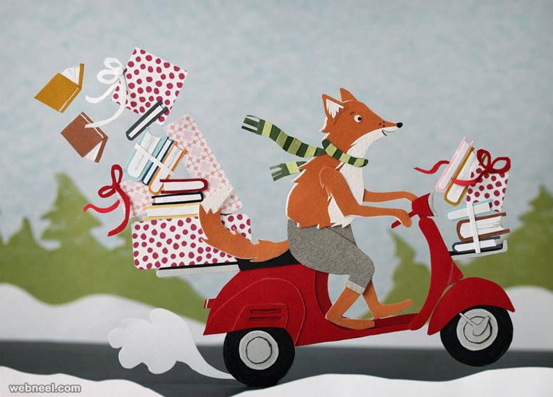 paper sculpture animal fox scooter