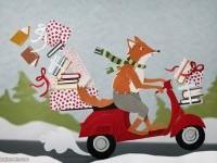 13-paper-sculpture-animal-fox-scooter