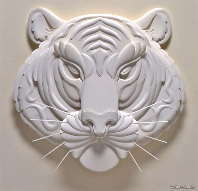 paper sculpture tiger