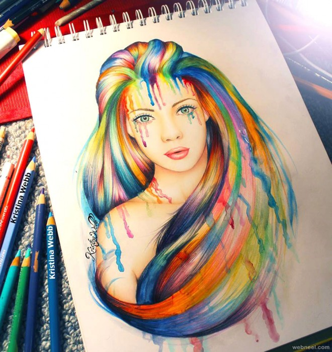 woman color pencil drawings by kristina color pencil drawing - Color Drawings