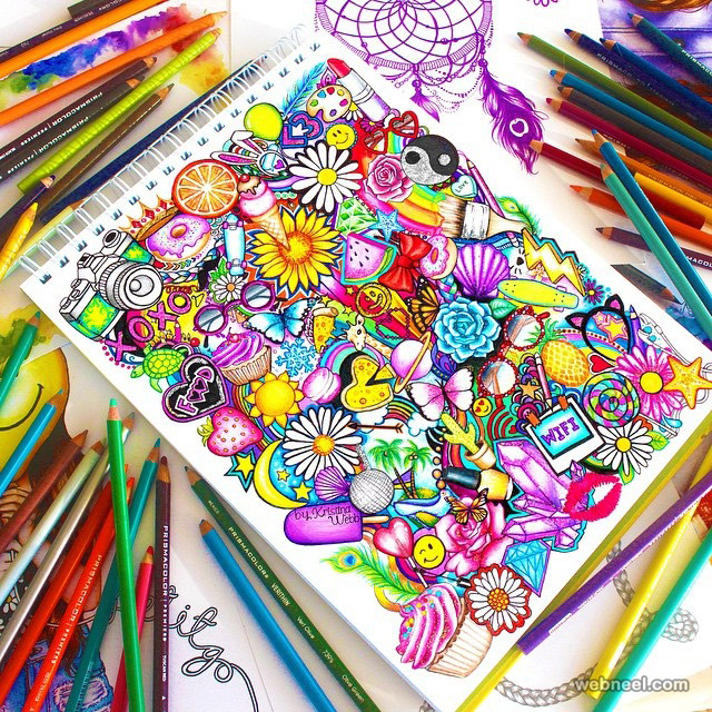 doodle art color pencil drawings by kristina color pencil drawing - Color Drawings
