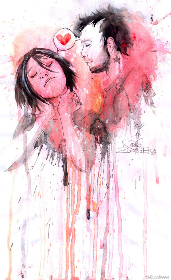 25 Beautiful Watercolor Paintings by Lora ZombieZombie Watercolor Painting
