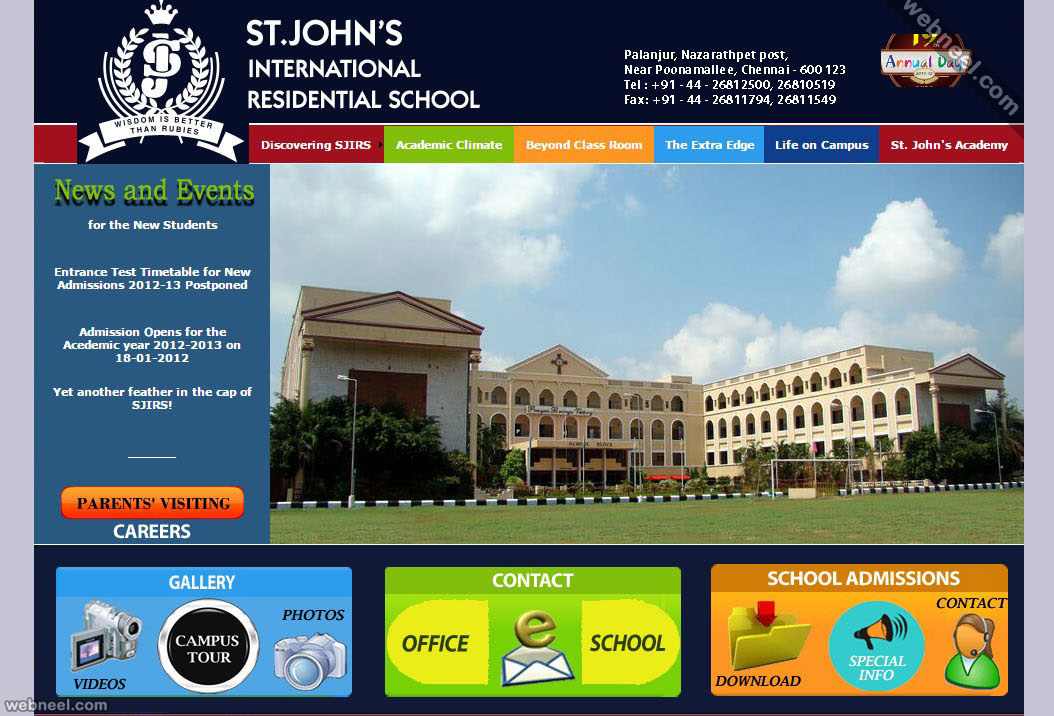 25 beautiful school website design examples for your for Home plan websites