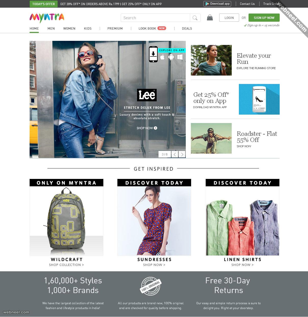 ecommerce website design myntra