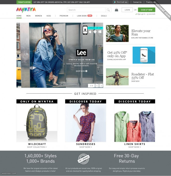 ecommerce website design myntra