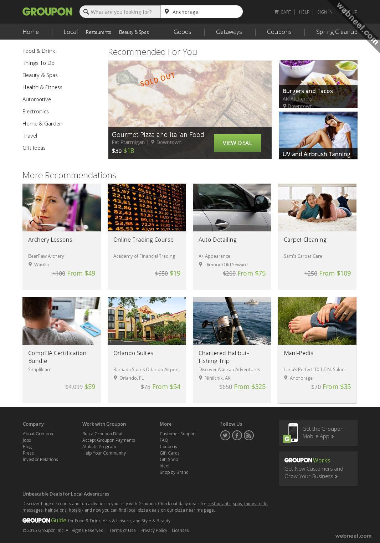 ecommerce website design groupon