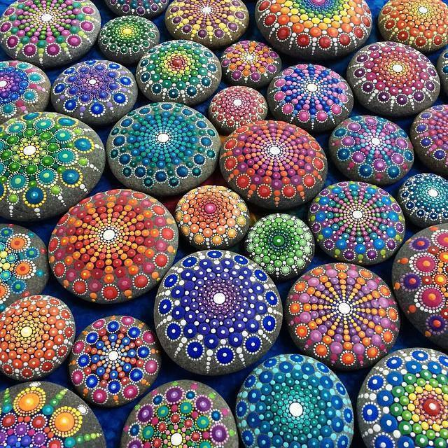 beautiful painting on stones