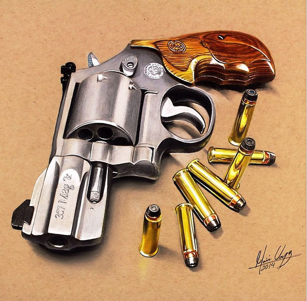 realistic color pencil drawing pistol by moises vasquez