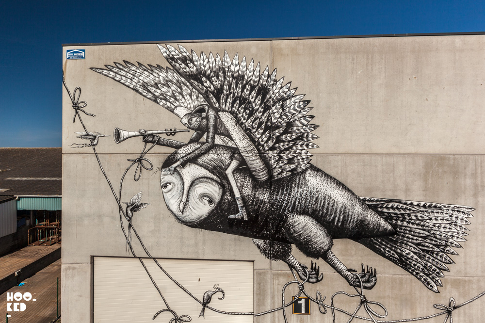 bird mural by phlegm