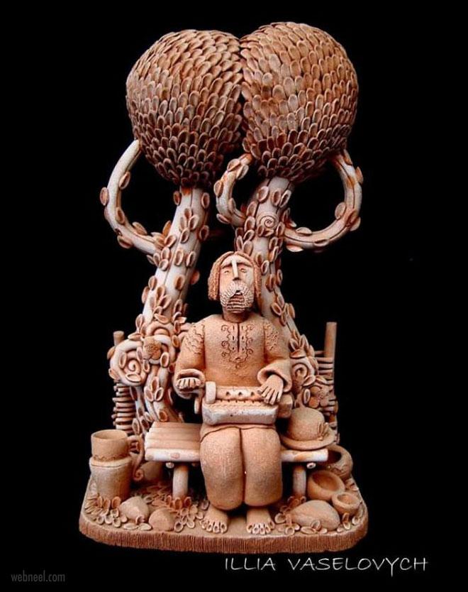 ceramic sculpture artwork typist