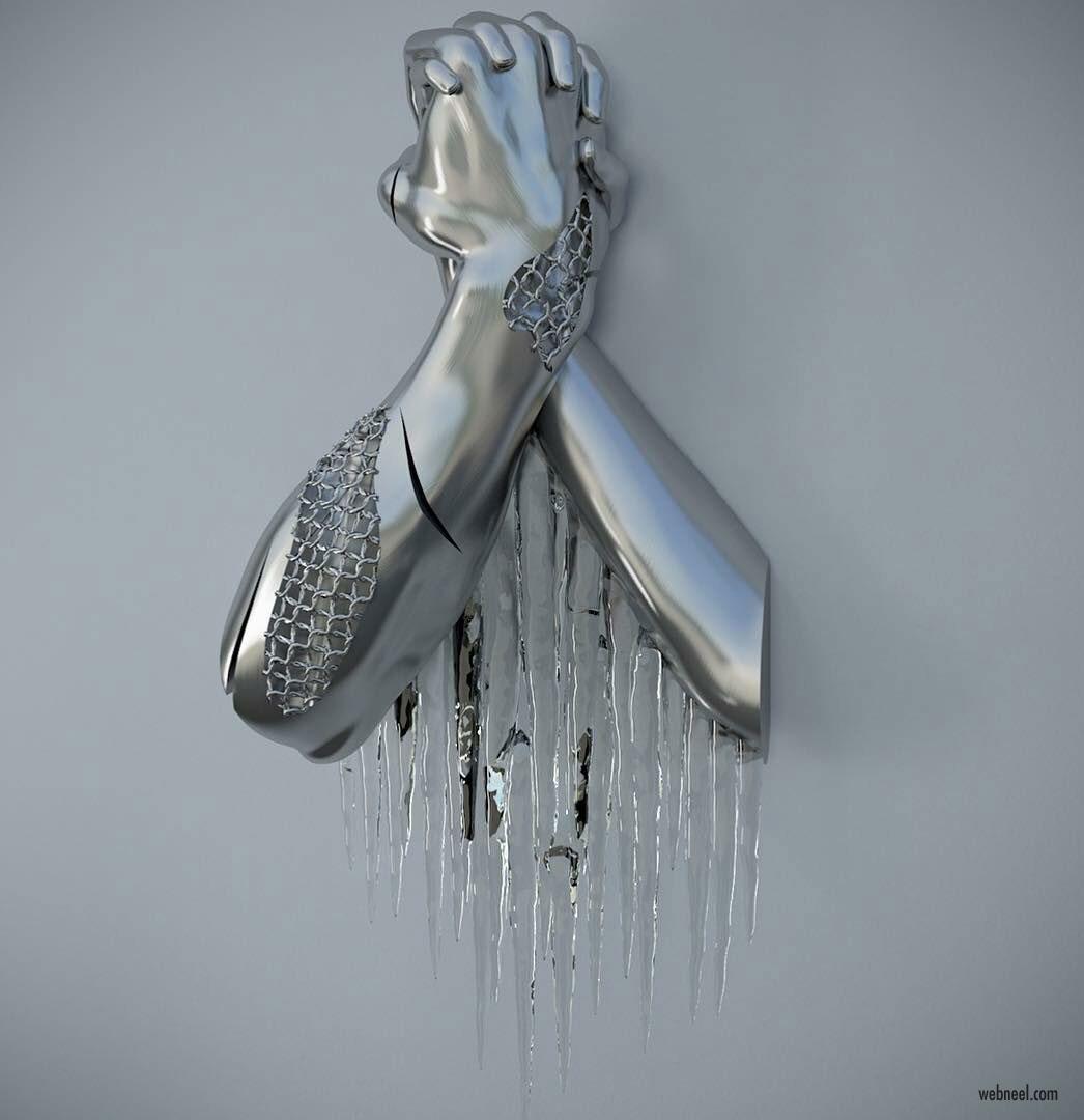 metal sculpture artwork twisted by franck kuman