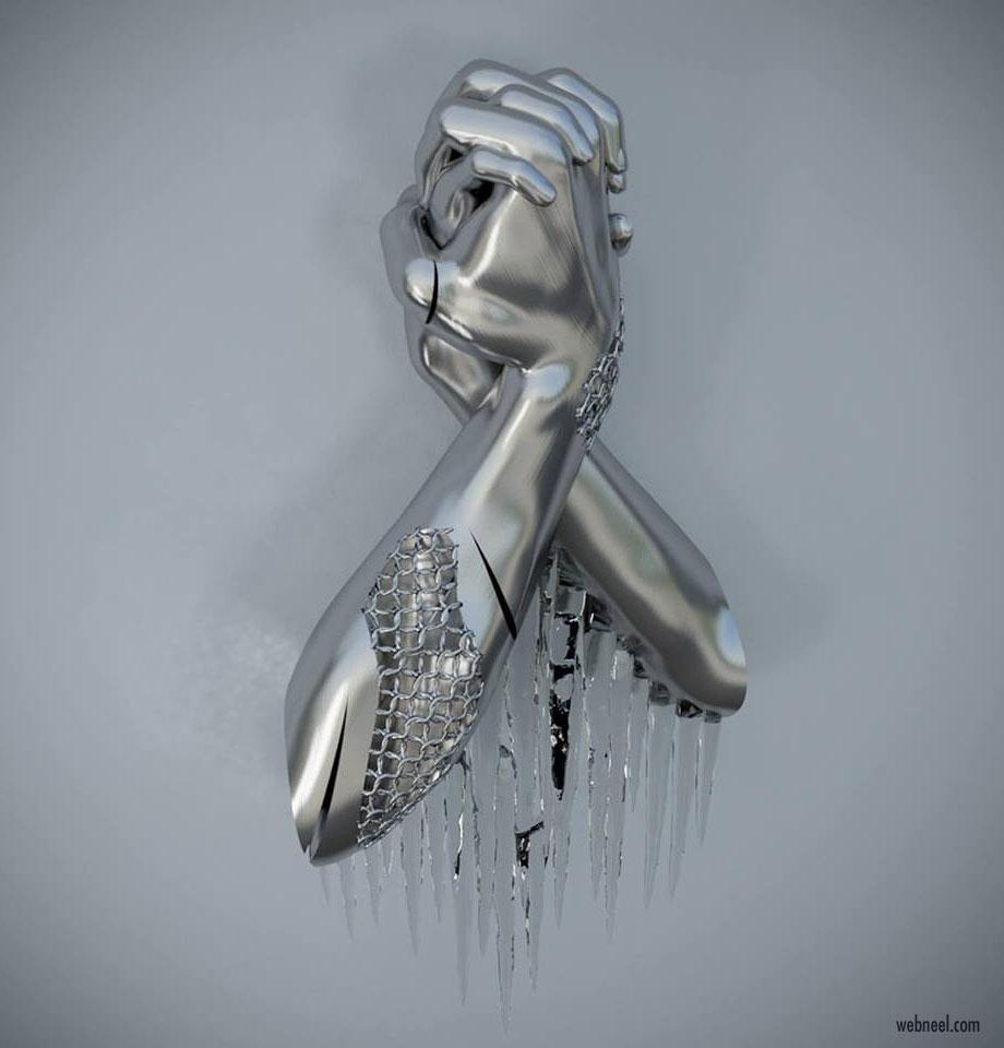 metal sculpture artwork bond by franck kuman