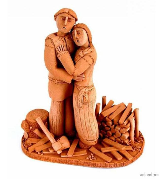 ceramic sculpture artwork couple
