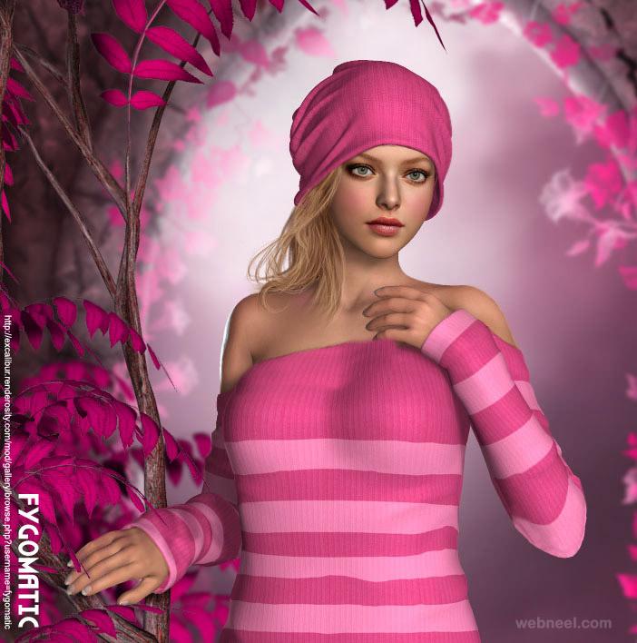3d girl model character fygomatic