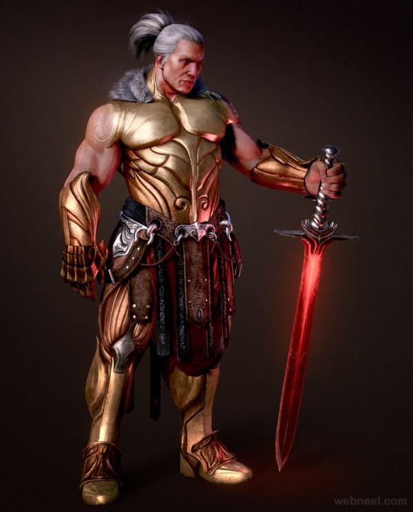 3d warrior design by fabricio moraes