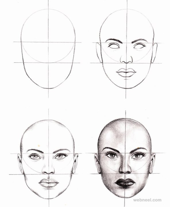 how to draw a face 25 step by step drawings and video