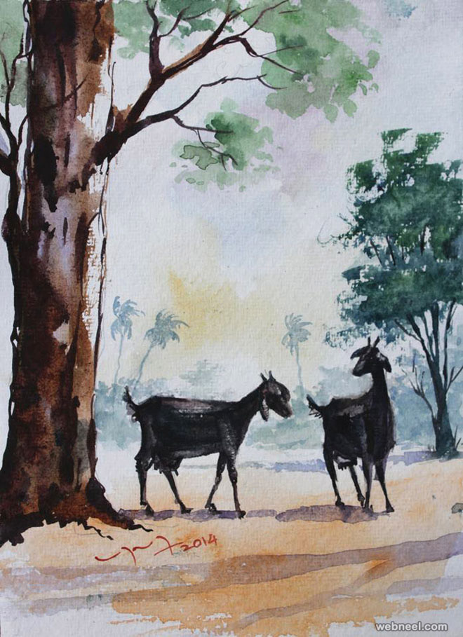 watercolor painting by balakrishnan